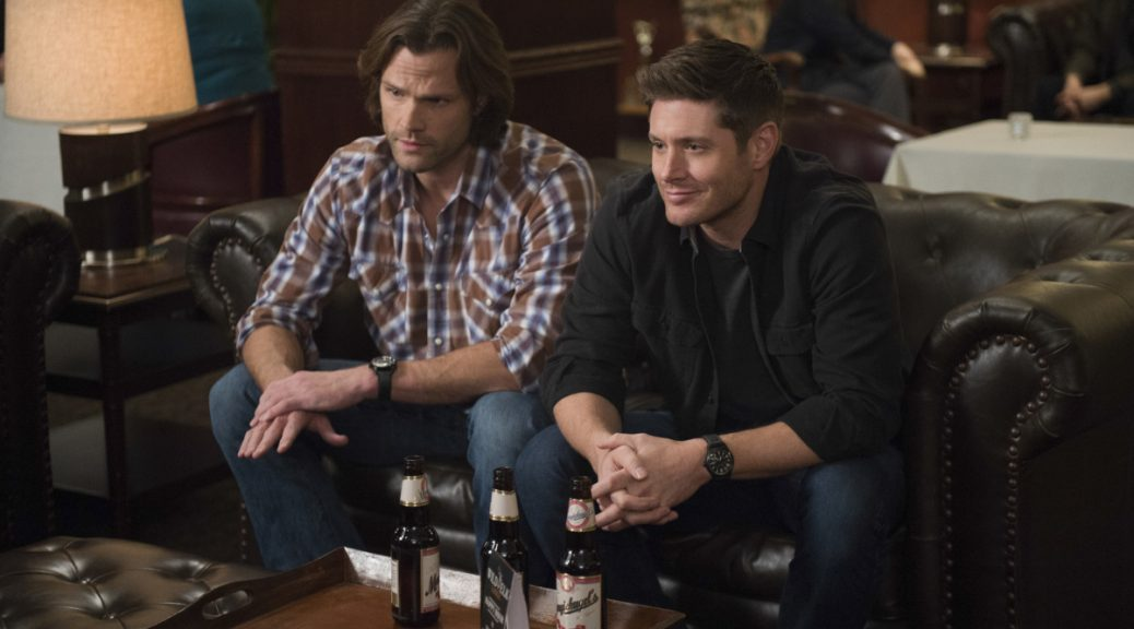 "Supernatural --""Ladies Drink Free""-- SN1216a_0224.jpg -- Pictured (L-R): Jared Padalecki as Sam and Jensen Ackles as Dean -- Photo: Diyah Pera/The CW -- © 2017 The CW Network, LLC. All Rights Reserved"