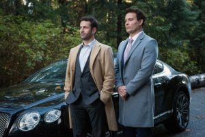 "Supernatural --""First Blood""-- SN1209b_0077.jpg -- Pictured (L-R): Adam Fergus as Mick Davies and David Haydn-Jones as Mr. Ketch -- Photo: Dean Buscher/The CW -- © 2016 The CW Network, LLC. All Rights Reserved"
