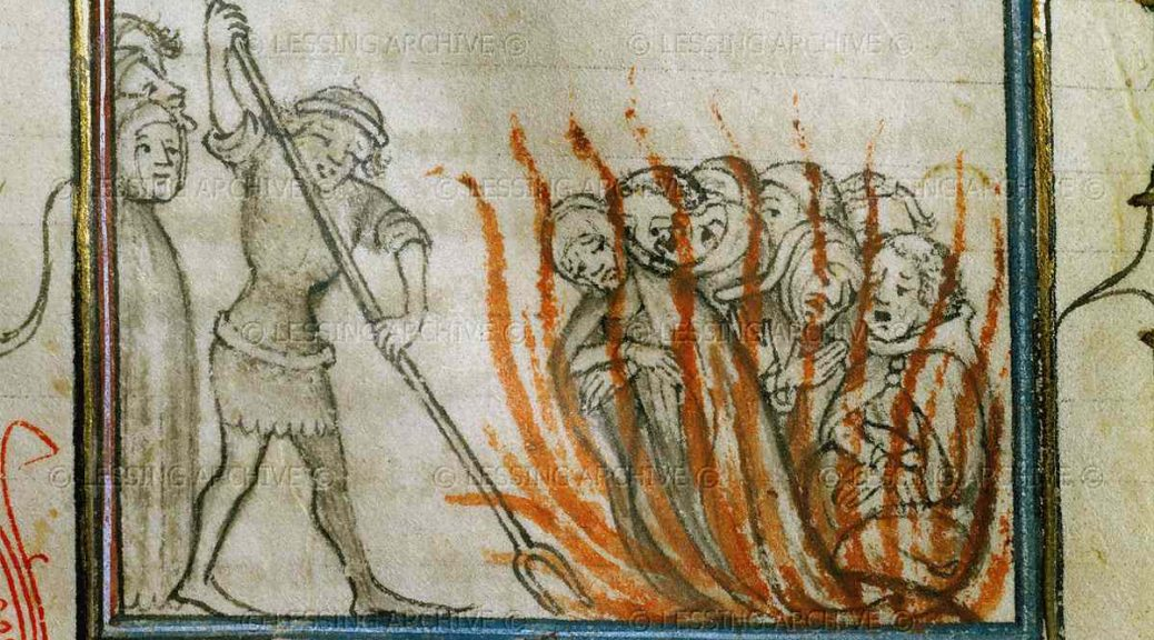 "Templars burned at the stake. Anonymous chronicle ""From the creation of the World until 1384"" translated by Bernard Guy. MS 677, folio 75 recto"