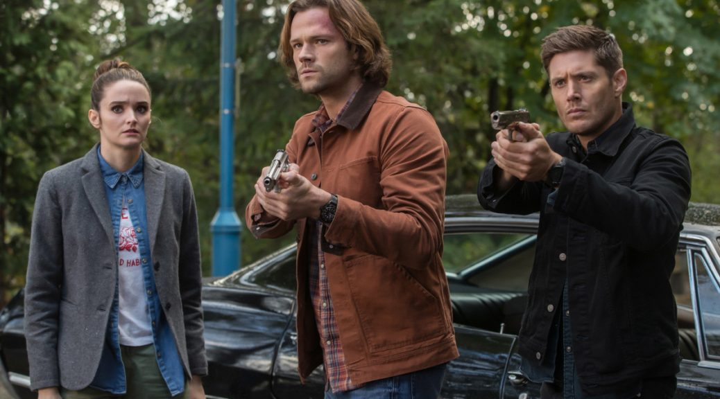"Supernatural -- ""The Scorpion and the Frog"" -- Image Number: SN1308a_0365b.jppg -- Pictured (L-R): Christie Burke as Smash,  Jared Padalecki as Sam and Jensen Ackles as Dean -- Photo: Jack Rowand/The CW -- © 2017 The CW Network, LLC All Rights Reserved."