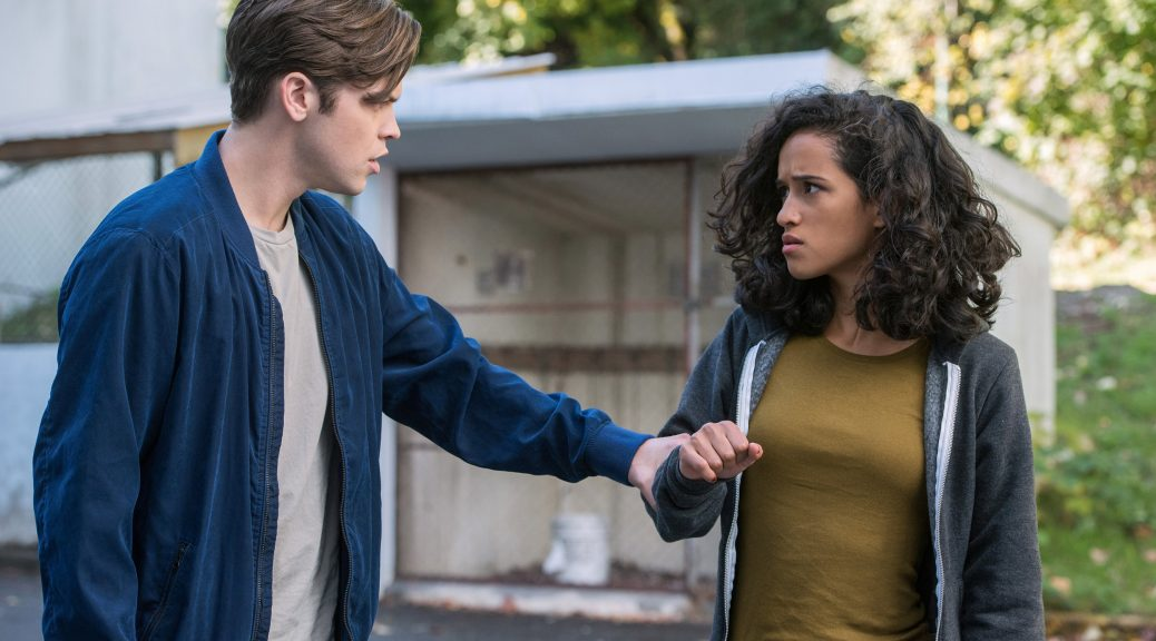 "Supernatural -- ""The Bad Place"" -- Image Number: SN1309a_0144.jpg -- Pictured (L-R): Alexander Calvert as Jack and Yadira Guevara - Prip as Kaia -- Photo: Dean Buscher/The CW -- © 2017 The CW Network, LLC All Rights Reserved."