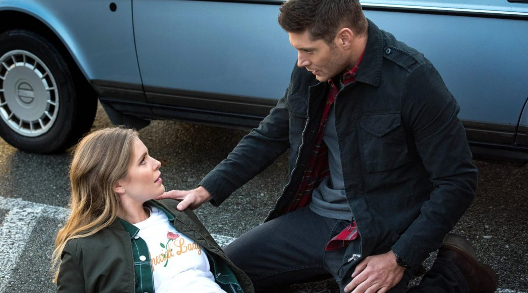 "Supernatural -- ""Various & Sundry Villians"" -- Image Number: SN1312a_0027b.jpg -- Pictured (L-R): Jordan Claire Robbins as Jamie Plum and Jensen Ackles as Dean -- Photo: Dean Buscher/The CW -- © 2018 The CW Network, LLC All Rights Reserved"