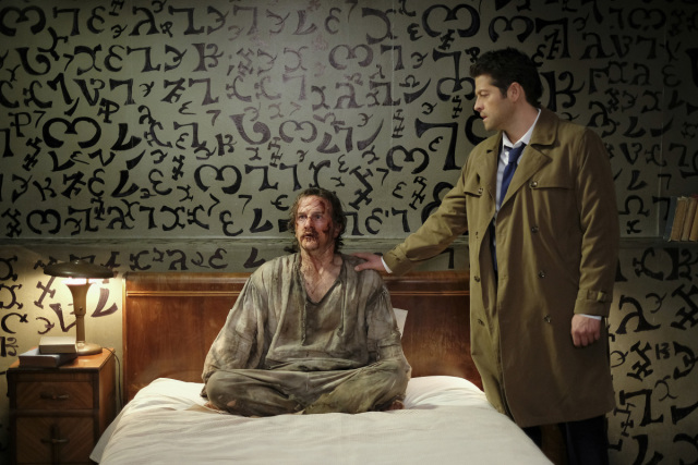 "Supernatural -- ""Bring 'em Back Alive"" -- Image Number: SN1318a_0268.jpg -- Pictured (L-R): Richard Speight Jr. as Gabriel and Misha Collins as Castiel -- Photo: Robert Falconer /The CW -- © 2018 The CW Network, LLC. All Rights Reserved."